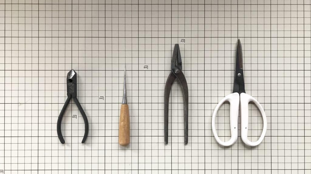 オンライン水引結び講座<基礎編>に使用する道具(クラフトバサミ、ヤットコ、目打ち、ニッパー)