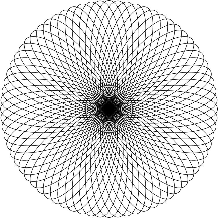 かけ結びでできる幾何学模様はスピログラフに似ている