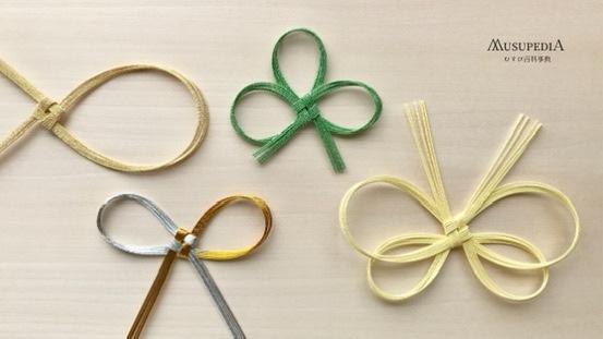 叶結びの種類、輪の数ごとに一つ輪から四つ輪までに分類。