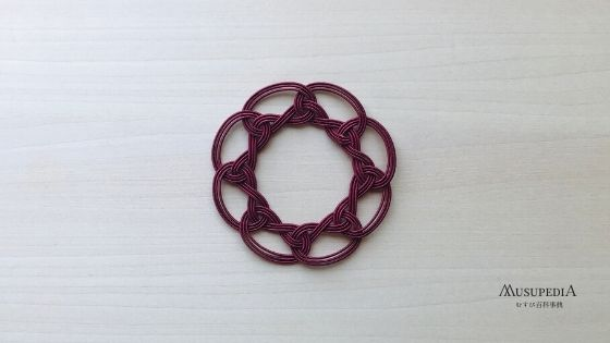 袈裟結びの自然にカーブする方向と逆にそらして閉じる結び方