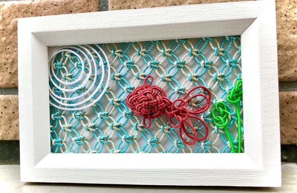七宝結びの水引平面作品